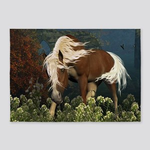 Curious Horse on a meadow 5'x7'Area Rug